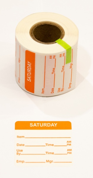 able-label-2-by-2-white-with-orange-print-day-of-week-saturday-food-rotation-water-dissolvable-label