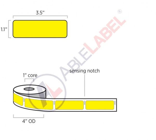 able-label-1-point-1-by-3-point-5-dymo-compatible-flood-yellow-direct-thermal-label