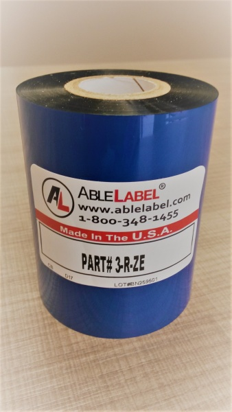 "3.15"" x 984' Black Wax Ribbon for Zebra Printer"