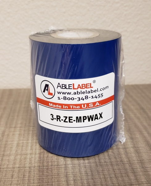 "3.15"" x 984' Black Economy Wax Ribbon for Zebra Printer"